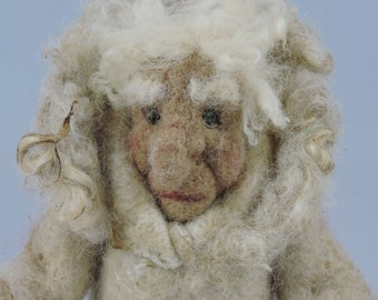 Felted Figurine Doll with Wooly Coat, Decorative Needle Felted Figure,  Home Décor, Collectable Felted Figures