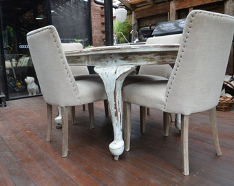 Vintage French Provincial Dining Table and Chairs