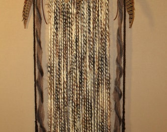 Feather Header Yarn Wall Hanging Art in Earth Tones