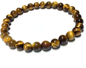 Genuine Tiger Eye Yoga Mala Bracelet - Natural Spirited Stones Bracelet - Abundance - Healing Stones Bracelet - Stretch Bracelet - Handmade