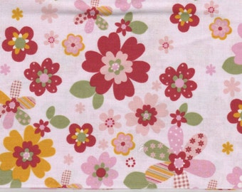 Forest Friends - 1 yd - Camelot Cottons - Flowers on White