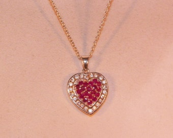 Beautiful Sterling Silver Ruby Heart Pendant With Necklace