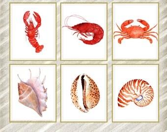 "Watercolor Sea animals prints: ""NAUTICAL PRINTS"" Printable Art Seashell Crab Beach House Decor Bathroom decor Nursery Wall Art set of 6"