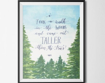 "Digital Download—8x10"" Watercolor Pine Trees and Henry David Thoreau Quote"