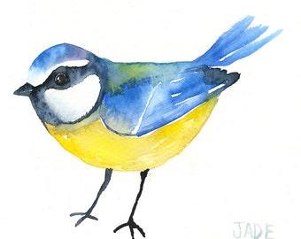 Bluetit Original Art - Watercolor Bird Painting - 5 x 7 - Baby Nursery Art