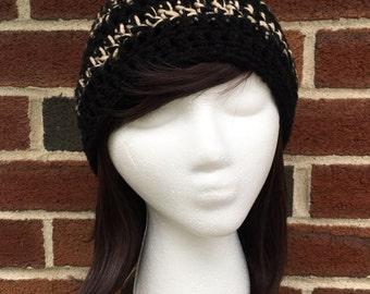 Basic Crochet Beanie in Black and Tan
