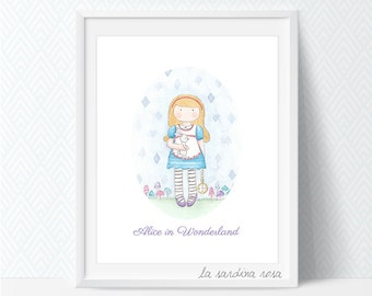 Alice in wonderland wall art, watercolor print, baby girl nursery wall art, White rabbit, Whimsical Nursery art, Girls Room Decor