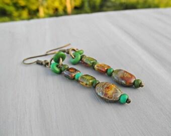 Green Czech glass earrings with rapeseed turquoise, Green glass dangle earrings, Antique bronze earrings, gypsy, boho, brown, green