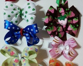 Pinwheel bows barrettes seasonal/holiday 10 pack