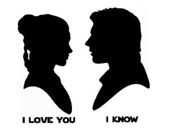 Princess Leia and Han Solo 'I love you' 'I know' Embroidery Design