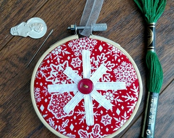 Handmade 3in Embroidery Hoop Ornament