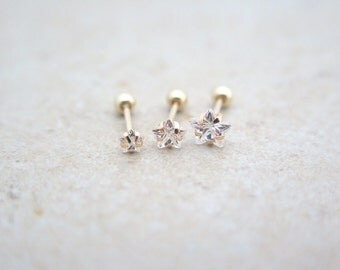 10K Solid Gold piercing/star Piercing/Helix piercing/cartilage earring/Tragus piercing/Delicate ear piercing/Daith piercing/Conch piercing