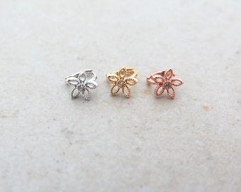 Flower hoop earring/Mini hoop earring/Tragus earring/Cartilage earring/Rook Piercing/Tragus piercing/Cartilage piercing/Helix Conch Rook