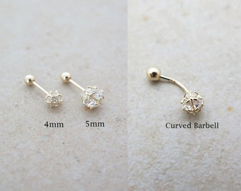 10K/14K Solid Gold piercing/CZ Ball Piercing/Helix piercing/cartilage earring/Tragus piercing /Rook Piercing/Daith piercing/Conch/Snug