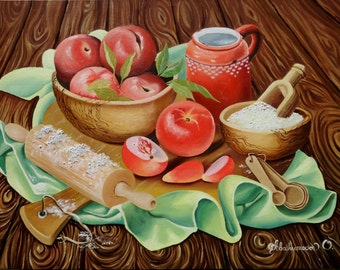 "Oil Painting Still Life Art Fruit Still Life Peaches Original Painting On Canvas ""18x24"" (45cm x 60cm)"