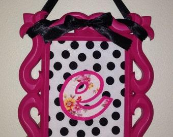 """Pink, Black and White Monogram """"E"""" frame"""
