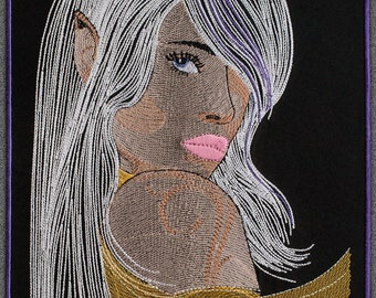Blond hair Elf embroidery design