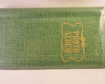 Vintage Green Photo Album with basket weave (never been used) Slim and Tall  (Clover MFG. Co. LTD)