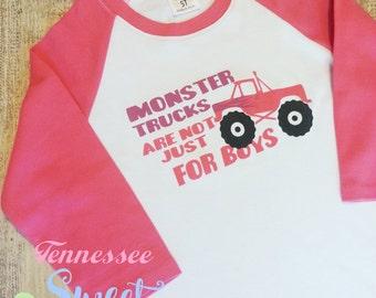 Monster Truck for Girls, Girls who love Monster Trucks, Monster Jam, Not Just for Boys, Girl's Raglans, Toddler Raglans, Monster Trucks