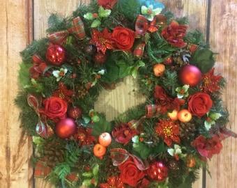 christmas wreath, christmas decor, pine wreath, door wreath