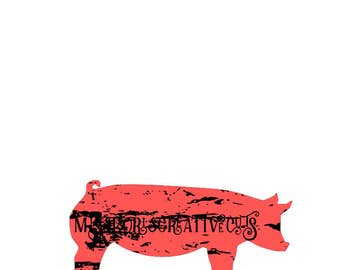 pIG distressed  SVG   cut file  t-shirts  animalsscrapbook vinyl decal wood sign cricut cameo Commercial use