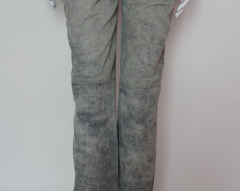 Mulberry vintage washed leather trousers in grey color size 8
