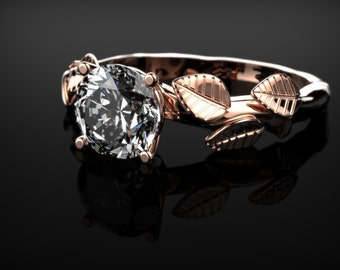 Rose Gold White Sapphire Leaf Ring Rose Gold Leaf Branch Engagement Ring White Sapphire Rose Gold Rose Ring Gold White Sapphire Ring