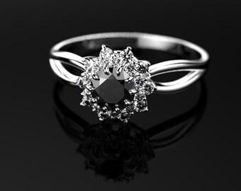 Black Diamond Ring White Gold Black Diamond Engagement Ring Black Diamond Engagement Ring Genuine Black Diamond White Gold Ring