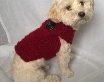 red dog sweater, yorkie sweater, dog sweater small,  small dog coat, teacup dog clothes, yorkie clothes, chihuahua sweater, dachshund coat