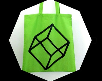 Tote bag, canvas bag, 100% cotton bag with screen printed cube design