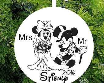 Mr Mrs Mickey & Minnie First Christmas Ornament - Married Personalized Wedding Gift - lovebirdschristmas