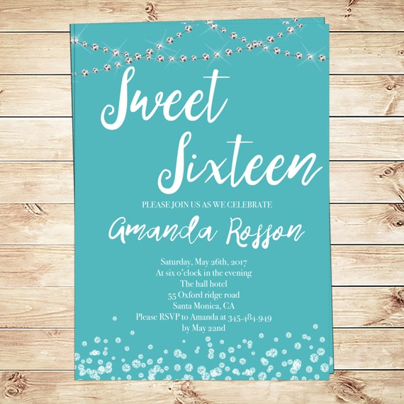 It is a picture of Current Sweet 16 Birthday Invitations Free Printable