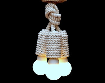 "Cotton rope pendant light, 40cm (~16"") , white rustic light, industrial lighting, loft lighting, lighting fixture, nautical lamp, marine"
