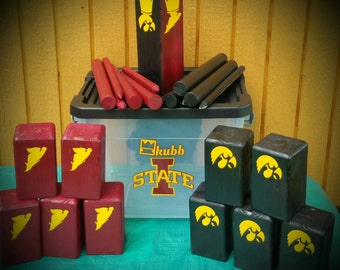 Kubb Giant Lawn Game cross between Horseshoes and Bocce Ball themed or plain sets available