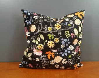 "Pillow cover - ""Birds on black"" - Ikea - size 16x16"" / 40x40cm (P12)"