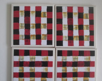 Black, white  & red check Coasters, Drink Coasters, Table Coasters, Gift for mom, Hostess Gift, barware