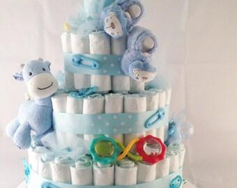 Diaper Cake - 4 tier - for baby boy