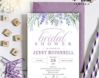 Lavender Bridal Shower Invitation | 5x7 | Editable PDF File | Instant Download | Personalize at home with Adobe Reader