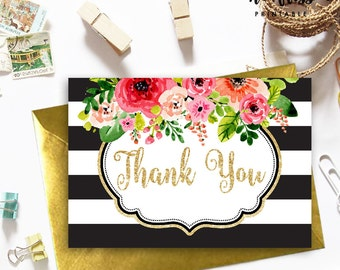 Watercolor Flower and Gold Glitter Thank You Card | Black and White Stripe | Printable Instant Download