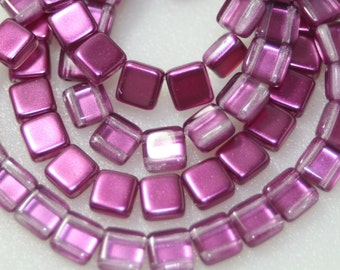 2 Hole Tiles, Czechmates, Fushia Pink, 6mm, 25 Beads