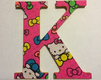 Fabric-Covered Decorative Wall hanger Letter K - Hello Kitty