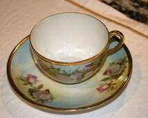 Royal Rudolstadt B Prussia Teacup and Saucer//German Teacup and Saucer//Vintage Teacup and Saucer