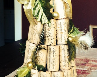 Cork Art Holiday Tree with Feathers