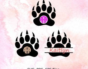 Bear Paw svg, Animal paw cutting files for Cricut, Vinyl Cutters. Split Monogram SVG, PDF, EPS files, wild nature, Split monogram svg