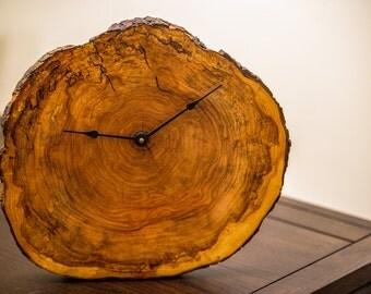 Wood slice clock, live edge, spalted wood.