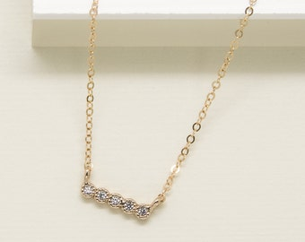 Diamond BarNecklace, 14k Gold Filled Chain, Dainty Tiny bar Gold Necklace, minimal Delicate Necklace with CZ stones