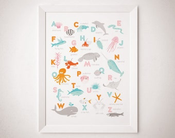 Ocean Creature Alphabet ABC Art Print