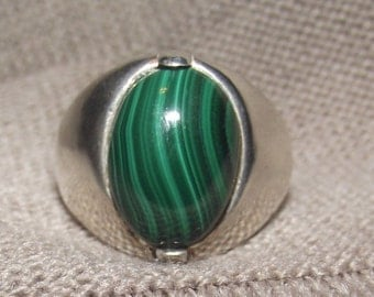 Green Malachite and Sterling Silver Ring Sz 12