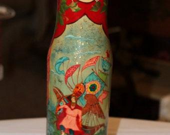 Russian Matryoshka Wooden Hand Painted Wine Holder, Liquor Bottle Holder
