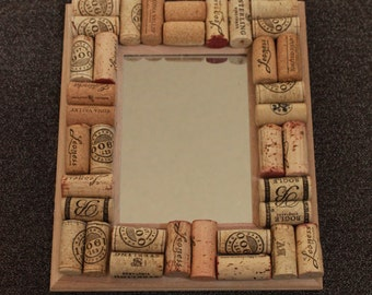 Handmade wine cork mirror